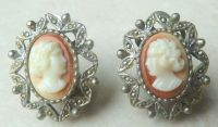 Vintage Cameo Clip On Earrings With Marcasite Stones.